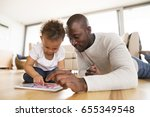 afro american father with...   Shutterstock . vector #655349548