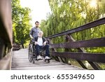 hipster son walking with... | Shutterstock . vector #655349650