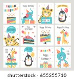 happy birthday card set. vector ... | Shutterstock .eps vector #655355710