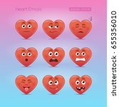 heart emojis. second emoticons... | Shutterstock .eps vector #655356010