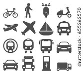 transportation travels icons set | Shutterstock .eps vector #655363570