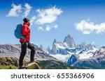 active hiker hiking  enjoying... | Shutterstock . vector #655366906