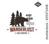 vintage wild emblem. retro... | Shutterstock . vector #655371448