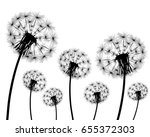 silhouette of a dandelion on a... | Shutterstock .eps vector #655372303