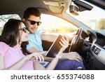 travel. couple is traveling in... | Shutterstock . vector #655374088
