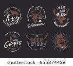 wild animal badges set and... | Shutterstock . vector #655374436