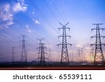 Electricity Pylons Silhouetted...