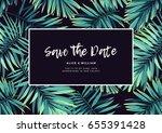 dark tropical wedding design...   Shutterstock .eps vector #655391428