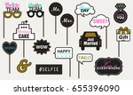 photo booth props weddings... | Shutterstock .eps vector #655396090
