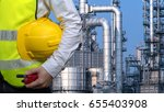 engineers holding safety yellow ... | Shutterstock . vector #655403908