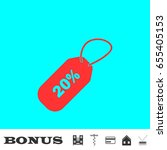 20 percent discount icon flat.... | Shutterstock . vector #655405153