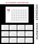 simple calendar layout for 2018 ... | Shutterstock .eps vector #655405264