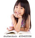 asian child reading | Shutterstock . vector #655405558