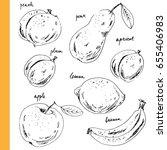 hand drawn ink sketch fruits.... | Shutterstock .eps vector #655406983