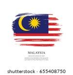 flag of malaysia  brush stroke... | Shutterstock .eps vector #655408750