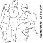 three girls talking | Shutterstock .eps vector #65541199