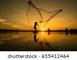 silhouette of fisherman... | Shutterstock . vector #655412464