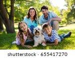 portrait of happy family... | Shutterstock . vector #655417270
