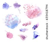 vector watercolor stains shapes ... | Shutterstock .eps vector #655418794
