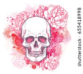 human skull with peony  rose...