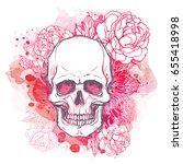 human skull with peony  rose...