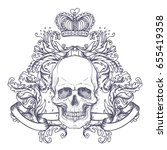 gothic coat of arms with skull. ... | Shutterstock .eps vector #655419358