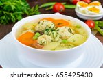 light dietary soup with meat... | Shutterstock . vector #655425430