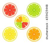 various citrus fruits in a... | Shutterstock .eps vector #655425448