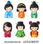Japanese Kokeshi Dolls Icons....