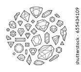 creative trendy set of diamond... | Shutterstock .eps vector #655434109