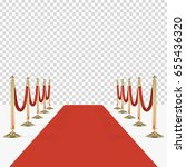 red carpet with red ropes on... | Shutterstock .eps vector #655436320