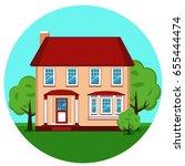 modern cottage. house. the... | Shutterstock .eps vector #655444474