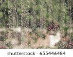Raindrops On Home Window Glass...