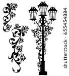 antique street light among rose ... | Shutterstock .eps vector #655454884