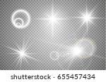 set of golden glowing lights...   Shutterstock .eps vector #655457434