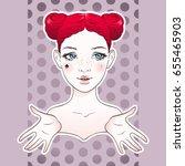 cartoon girl sticker design... | Shutterstock .eps vector #655465903