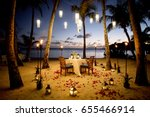 a table set up for a romantic... | Shutterstock . vector #655466914
