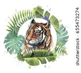 color illustration of a tiger.... | Shutterstock .eps vector #655473274
