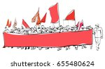 big demonstration with flags... | Shutterstock .eps vector #655480624