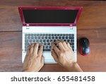 hand typing computer laptop... | Shutterstock . vector #655481458
