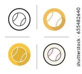 baseball ball icon. flat design ... | Shutterstock .eps vector #655482640