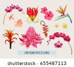 beautiful hand drawn botanical... | Shutterstock .eps vector #655487113