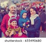 positive parents with kids... | Shutterstock . vector #655490680