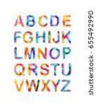 triangular english alphabet.... | Shutterstock .eps vector #655492990