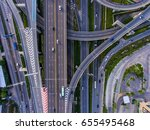 aerial top view of highway and... | Shutterstock . vector #655495468