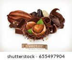 chocolate bars and pieces.... | Shutterstock .eps vector #655497904