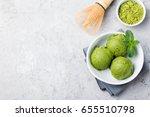 green tea matcha ice cream...   Shutterstock . vector #655510798