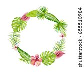 round frame with tropical... | Shutterstock . vector #655510984