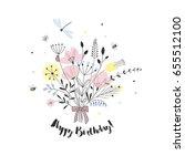 beautiful floral bouquet ... | Shutterstock .eps vector #655512100