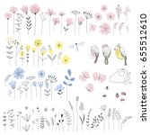 floral isolated elements for diy | Shutterstock .eps vector #655512610